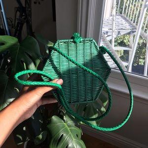 ZARA green rattan natural purse
